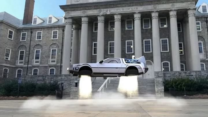 Delorean taking off in front of Old Main