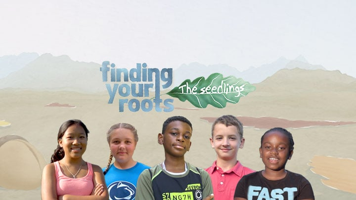 Young students from the Finding Your Roots - The Seedlings education special along with the project logo.