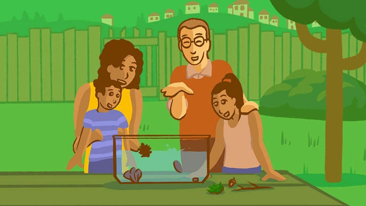 Illustration of a family doing a soda geyser experiment.